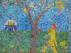 Making Mosaics (Steve Taylor (Photography)) Tags: mosaic clock 7oclock temple sunflower art mural streetart wall colourful tile lady woman tree grass lawn flower rose pattern columbiaprimaryschool columbiaschool kite