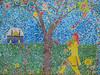 Making Mosaics (Steve Taylor (Photography)) Tags: mosaic clock 7oclock temple sunflower art mural streetart wall colourful tile lady woman tree grass lawn flower rose pattern columbiaprimaryschool columbiaschool kite