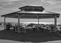 Silver Beach Pavilion (mswan777) Tags: beach shore coast dune sand grass seascape lake michigan pavilion shelter picnic st joseph outdoor nature reflection sky cloud horizon ansel monochrome black white nikon d5100 nikkor 1855mm