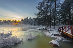 Langinkoski sunset (Jyrki Salmi) Tags: jyrki salmi langinkoski kotka finland winter evening rapids ice outdoor snow trees