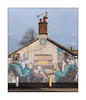 Street Art (Unknown Artist), North London, England. (Joseph O'Malley64) Tags: unknownartist streetartist streetart urbanart publicart freeart graffiti northlondon london england uk britain british greatbritain art artist artistry artwork bungalow housing home dwelling victorianbuilding victorianstructure brickwork bricksmortar cement pointing tiledroof chimney chimneypots tvaerial redundantanaloguetvaerial wiring electricalwiring electricalconduit bollards concretebollards tarmac granitekerbing doubleyellowlines noparkingatanytime parkingrestrictions trees crow bird corvid urban urbanlandscape aerosol cans spray paint fujix fujix100t accuracyprecision
