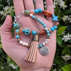 """This bracelet measures 7.5"""" & is finished w/ a beautiful labyrinth charm & rich tan tassel. Perfect for a dressy summer night 🌙 or for that extra daytime ☀️ impact. Made with love & available @ my Etsy shop! Link in description (STARZGRRL) Tags: boho bohojewelry gypsy gypsysoul hippiestyle hippiefashion hippiechic summertime crosses skulls dayofthedead eclecticjewelry festivaljewelry festivalfashion"""
