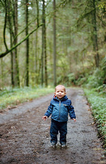 hiking with henry, part two (manyfires) Tags: film analog henry boy son family love baby toddler outdoors hike hiking pnw pacificnorthwest nikonf100 35mm trail path forestpark forest woods bokeh moss ferns pdx portland oregon