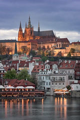 Prague Castle and Saint Vitus Cathedral in the Evening, Prague, Czech Republic (ansharphoto) Tags: architecture blue bohemia building capital castle cathedral church city cityscape culture czech dusk embankment europe european evening facade fort gothic historic history hradcany iconic illuminated landmark landscape light lights medieval old prague praha reflection republic river roofs sky skyline tourism tower town travel twilight urban vacation view vitus vltava water