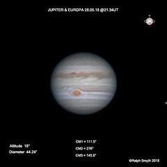 Jupiter & Europa 28.05.18 @21.34UT (Ralph Smyth) Tags: festoon festoons jupiter northequatorialbelt neb zwo290mm 290mm celestron