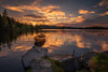 Wooden Boat (lonekheir) Tags: boat wooden lake water sunset norge norway boathouse rocks forest trees clouds warm