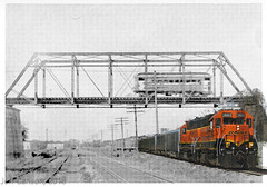 Topeka Streetcar Now/Then (Jeff Carlson_82) Tags: topeka ks kansas wye bnsf streetcar transit electric gp393r 2663 nowthen history bw blackwhite bridge traction train railroad railfan railway topekastreetrailways vinewood