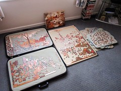 Brueghel puzzle progress report [after 6 days] (pefkosmad) Tags: jigsaw puzzle hobby leisure pastime brueghel painting art fineart falcon secondhand complete unopened sealed project 3000pieces progressreport flemish genre