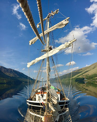 The Lady of Avenel - Loch Lochy (Andy.Gocher) Tags: andygocher uk scotland theladyofavenel thecaledoniacanal thegreatglen lochy loch sailing tallship reflection bow wave water iphone 6s ship boat sky waves