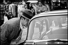 Suspicious Behaviour (Stephen Percival) Tags: london classiccarbootsale kingsx kingscross people candid blackandwhite fujifilm xpro2 nostalgia classic 40s forties fashion clothes history