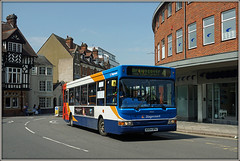 Back from the dead................ (Jason 87030) Tags: nuneaton rugby dart dennis slf pointer red white blue orange yellow display 4 brownsover admiralsestate may 2018 34626 kx54dpa stagecoach midlands northst street churchst roadside sony ilce bus wheels