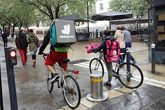 deliveroo and foodora - Montpellier, France (John Meckley) Tags: montpellier france deliveroo foodora bollard