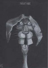 Nighthare (Klaas van den Burg) Tags: humor horror wordplay white color pencil hare nightmare