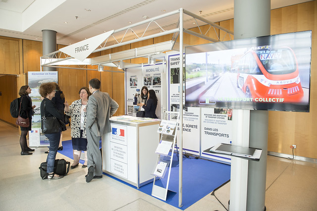 "Attendees at the ""Ministry for an Ecological and Solidary Transition, Ministry of Transport, France"" stand"