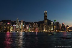 Victoria Harbour Lights in the Blue Hour © (Rodolfo Quinio) Tags: 163 hongkongharbourlights hongkongharbour hongkong nikond800 nikonafs2470mmf28ged bluehour nightscape citiscape bluesky