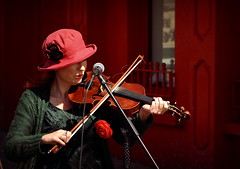 Irish Rose. (K.Mackessy) Tags: music portrait red rose street musicians irish fiddle colour