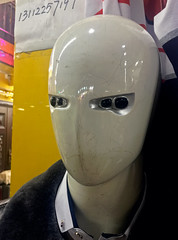 Four-eyed Mannequin (cowyeow) Tags: street funny funnychina asia asian guangdong china chinese statue mannequin dummy odd weird face bald clothing apparel fashion shop store mall guangzhou male freaky alien freak creepy