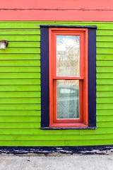 Window (Karen_Chappell) Tags: window architecture jellybeanrow building house home rowhouse stjohns newfoundland nfld canada atlanticcanada avalonpeninsula green pink blue red orange geometry geometric lines rectangle eastcoast downtown city urban wood wooden paint painted clapboard reflection colourful colours colour color multicoloured