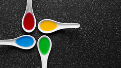 Chinese Twister (WibbleFishBanana) Tags: chinese soup spoons red yellow blue green granite fluid liquid