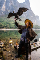 Cormorant Fisherman (mlhell) Tags: animals bird china cormorantfishermen cormorants guilin karstmountains landscape mountains nature portrait river rural