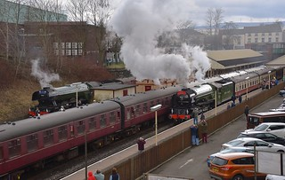Two famous Icons of British Steam, No.60103 'Flying Scotsman' on the left and No.60163 'Tornado' on the right at Bury Bolton Street, East Lancs Railway. 31 03 2018
