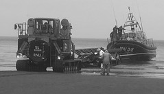 Getting lined up (phil da greek) Tags: blackwhite scarborough northyorkshire uk southbay rnli lifeboat shannonclass