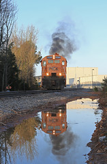 Perfect... reflection (GLC 392) Tags: water pond reflection smoke perfect sun sky ge u18b pick pickens 9502 9507 anderson sc morning south carolina railroad railway train burp chug baby boat gluck
