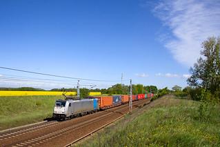 Railpool 186 430 + Güterzug/containertrein/freight train  - Priort