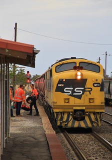 GM10 and GM22 stop at Murtoa station for a crew change before departing for the docks