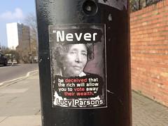 Lucy Parsons (JudyGr) Tags: lucyparsons anarchist sticker street art politics anticapitalist guesswherelondon london gwl londonguessed guessedbytetramesh