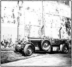 Vintage British Racing Car ( Black & White ) (Peter Greenway) Tags: racingcar blackwhite blackandwhite flickr scramble vintagecar texture british vintage bw bicesterheritage classiccar bicesterheritagecentre
