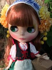 Looking for herbs (Foxy Belle) Tags: blythe doll joana 2018 takara woods trees outside nature picnic basket stock neo gentiana folk dress folksy flower floral motif