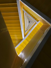 i spent a charming evening at the eschers'... (liam.jon_d) Tags: bill doyle adelaide south australia triangle triangular stair staircase yellow city west campus university geometry billdoyle universityofadelaide uni adelaideuni usa universityofsouthaustralia unisa receding convergent perspective escher pickmeset popularimset