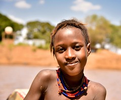 Dassanech Girl (Rod Waddington) Tags: africa african afrique afrika äthiopien ethiopia ethiopian ethnic etiopia ethnicity ethiopie etiopian omovalley omo outdoor outdoors omoriver girl child culture cultural dassanech traditional tribe tribal omorate boat beads water portrait people