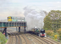 The Meeting Of Ages (Deepgreen2009) Tags: steam uksteam bulleid clanline bridge generations ages meeting crossing over 455 southern electric railway train suburban