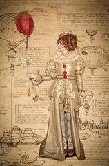 Flight plans (Chris Willis 10) Tags: steampunk timequake oldfashioned antique old people retrostyled history time visualart artsandentertainment characters thepast illustration conceptsandideas sepiatoned nostalgia victorianstyle oneperson book obsolete women balloon flying sepia map plans ideas clown creepy scary red airship