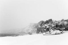 snowy salterton... (Vladimir Barvinek) Tags: snow weather sea seafront snowflakes devon boat mist season winter scene landscape beach budleighsalterton monochrome blackandwhite