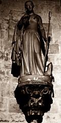 4 - Paris, Eglise Saint Germain des Prés, Statue de sainte Geneviève (melina1965) Tags: avril april 2018 îledefrance paris 75006 6èmearrondissement panasonic lumix dmctz57 sépia sepia sculpture sculptures statue statues église églises church churches