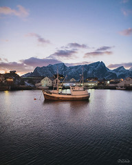 Gone fishing (pressenter) Tags: yellow boat hamnoy sakrisoy reine lofoten travel adventure photography background fishing fraiter norway norge sunset dusk beauty beautiful mountain mountains snow sony a7r2 a7rii blue water ocean fjord sky gradient wallpaper