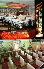 Woo's House Restaurant, Quebec City (SwellMap) Tags: postcard vintage retro pc chrome 50s 60s sixties fifties roadside mid century populuxe atomic age nostalgia americana advertising cold war suburbia consumer baby boomer kitsch space design style googie architecture