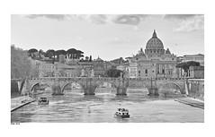 Ponte Sant'Angelo, Rome. (wk4ever) Tags: rome citytrip pontesantangelo basilica vatican blackandwhite