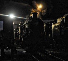 Great Central Railway Loughborough Leicestershire 8th April 2018 (loose_grip_99) Tags: central railway railroad rail train steam engine locomotive leicestershire eastmidlands england uk transportation preservation great western gwr hawksworth modified hall 460 6990 witherslackhall loughborough shed depot mpd prep night nightime shadows trains railways april 2018