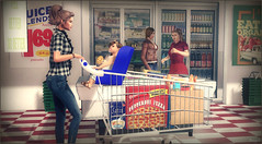 *Grocery shopping with my little one CAN be fun...as long as she has her cookie* ❤ (Ⓐⓝⓖⓔⓛ (Angeleyes Roxley)) Tags: toddleedoo family avatar sl secondlife grocery shopping pseudo backdrop gacha shop cart