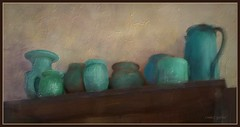 Pottery display (edenseekr) Tags: pottery bluegreen stilllifecomposition digitallypainted handpainted photopainting