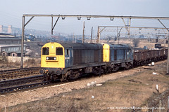 09/03/1983 - Broughton Lane, Sheffield, South Yorkshire. (53A Models) Tags: britishrail class20 20209 20011 diesel freight broughtonlane sheffield south yorkshire train railway locomotive railroad