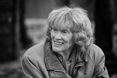 A smiling happy lady (Frank Fullard) Tags: frankfullard fullard happy smile smiling lady candid street portrait monochrome blackandwhite blanc noir mayo erris belmullet irish ireland