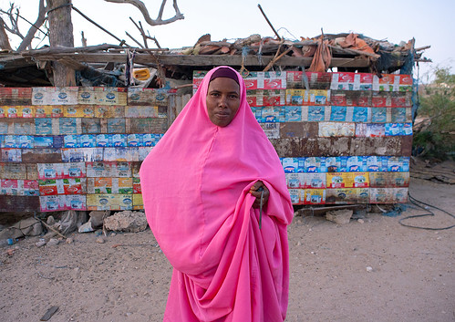 Portrait of a somali woman in pink hijab, North-Western province, Berbera, Somaliland