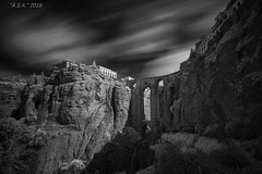 "High Life (""A.S.A."") Tags: ronda andalusia espana spain europe gorge bridge infrared830nm leefilters leebigstopper nd110 sonya7rinfrared830nm sonyzeissvariotessarfe1635mmf4 blackwhite mono monochrome greyscale niksoftware silverefex cloud slow shutter longexposure asa2018"