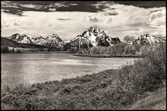 Oxbow Bend On The Snake River (59roadking - Jim Johnston) Tags: ifttt 500px landscape horizon over land sky oxbow bend wyoming grand teton monochrome clouds mountains mountain peaks