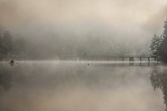 Foggy day (*SanM.*) Tags: fog neblig nebel nebulous river stausee fisherman fischer misärsbreck brücke nature landscapes landschaft paysage pecheur boot boat bateau boulaide ardennesluxembourgoises luxembourg